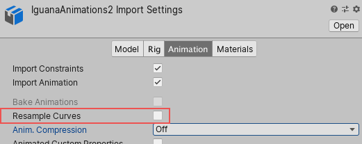 The Resample Curves option in the Animations tab