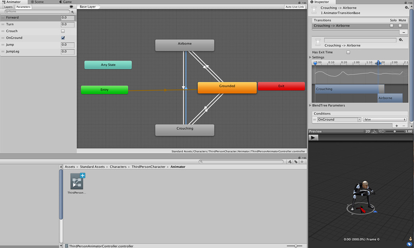 Typical view of an Animation State Machine in the Animator window