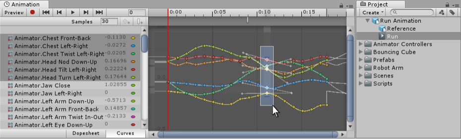 Selecting keyframes from an imported clip.