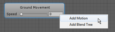 The context menu when right-clicking on a blend tree node.
