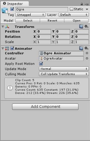 The Override Controller in use on a Game Object, in the Animator Component