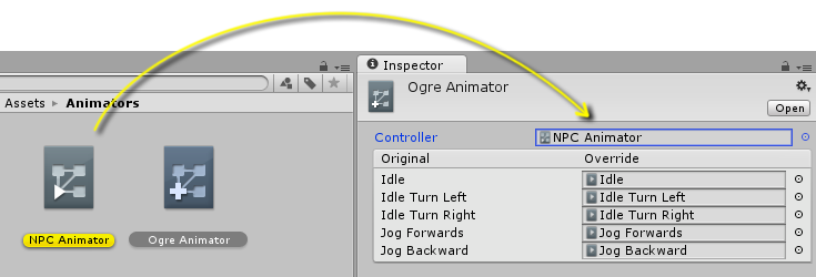 Dragging an existing controller into the Animator Override Controllers inspector