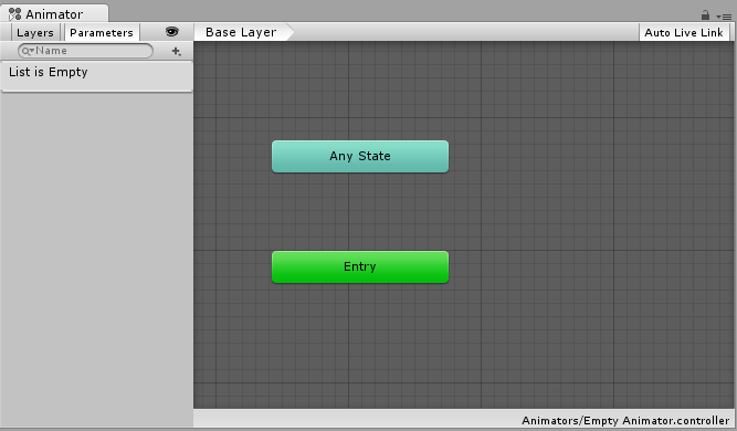 The Animator Window showing a new empty Animator Controller asset