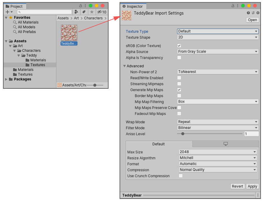 Clicking on an image Asset in the Project Window shows the import settings for that Asset in the Inspector