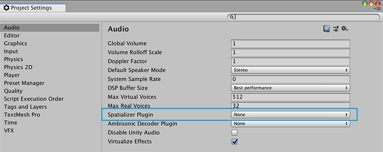 Unity - Manual: VR Audio Spatializers