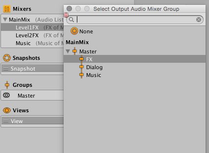 Unity - Manual: Specifics on the AudioMixer window