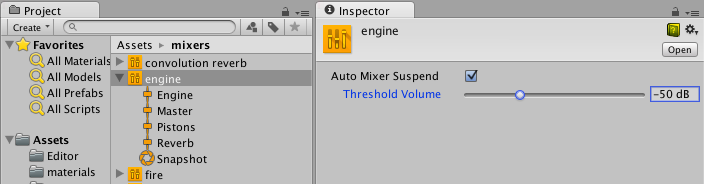 Suspend settings on audio mixer asset