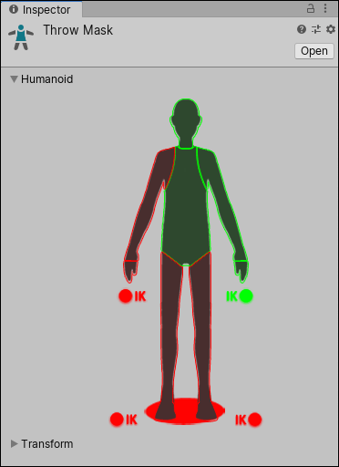 Defining an avatar mask using the humanoid body selection method