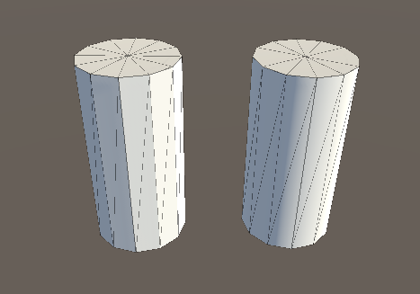 Two 12-sided cylinders, on the left with flat shading, and on the right with smoothed shading