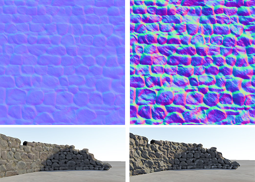 Low and High Bumpiness settings when importing a height map as a normal map, and the resulting effect on the model.