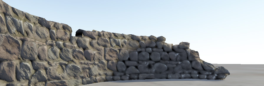 The same stone wall with bumpmapping applied. The edges of the stones facing the sun reflect the directional sun light very differently to the faces of the stones, and the edges facing away.