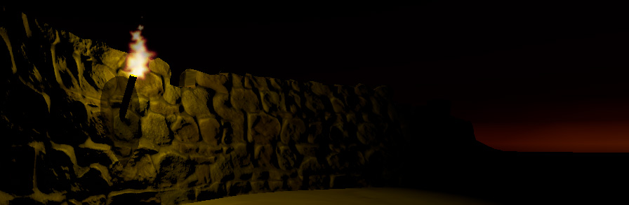 The same bumpmapped stone wall, in a different lighting scenario. A point light torch illuminates the stones. Each pixel of the stone wall is lit according to how the light hits the angle of the base model (the polygon), adjusted by the vectors in the normal maps. Therefore pixels facing the light are bright, and pixels facing away from the light are darker, or in shadow.