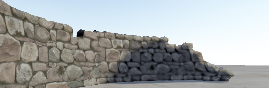 A stone wall with no bumpmap effect. The edges and facets of the rock do not catch the directional sun light in the scene.