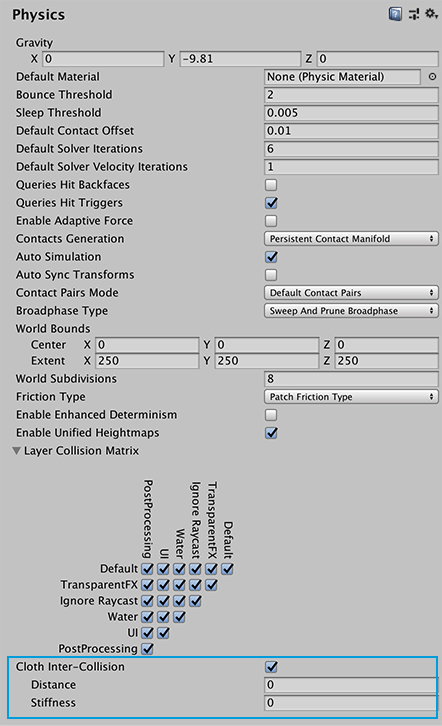 Enable intercollision behavior in the Physics settings