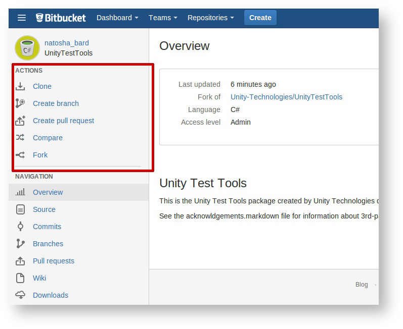 Unity - Manual: Step 5: Open a pull request on Bitbucket