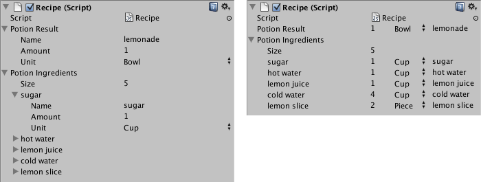Class in the Inspector without (left) and with (right) custom Property Drawer.