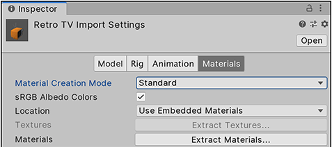 The Materials tab defines how Unity imports Materials and Textures