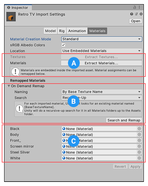 Import settings for Materials
