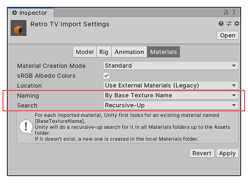 Import settings for Use External Materials (Legacy)