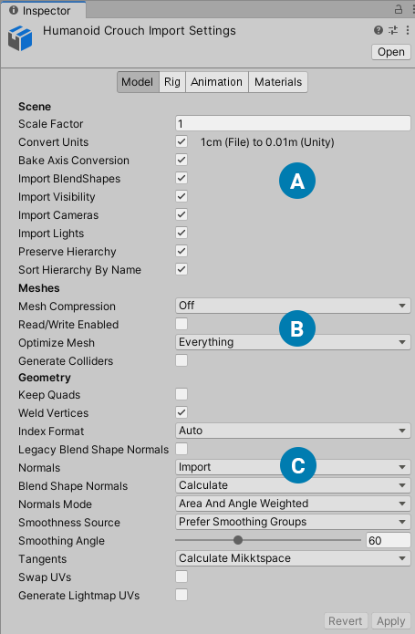 Import settings for the Model