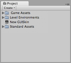 A new GUISkin file in the Project View