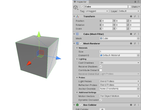 A simple Cube GameObject with several Components