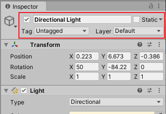 A typical GameObject viewed in the Inspector. In this case, a directional light. The Scene status properties are outlined in red.