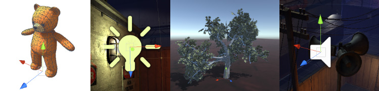 Four different types of GameObject: an animated character, a light, a tree, and an audio source