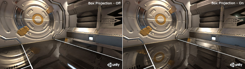 The parallax issue is fixed by using Box Projection option