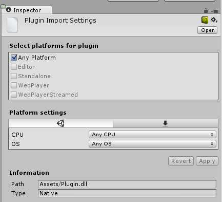 Use the Plugin Inspector to configure custom .winmd files for specific platforms