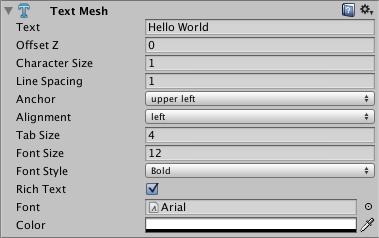 Unity - Manual: Text Mesh