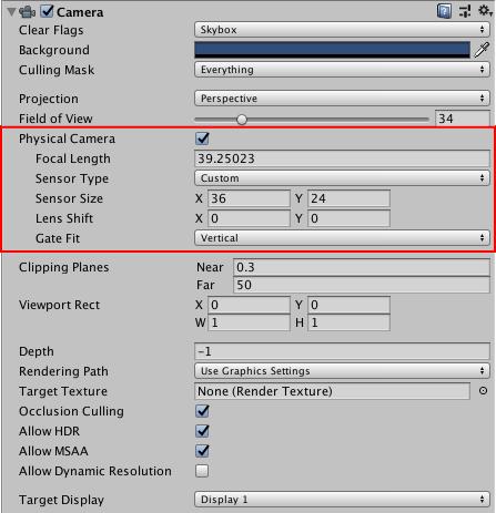 Unity - Manual: Using Physical Cameras