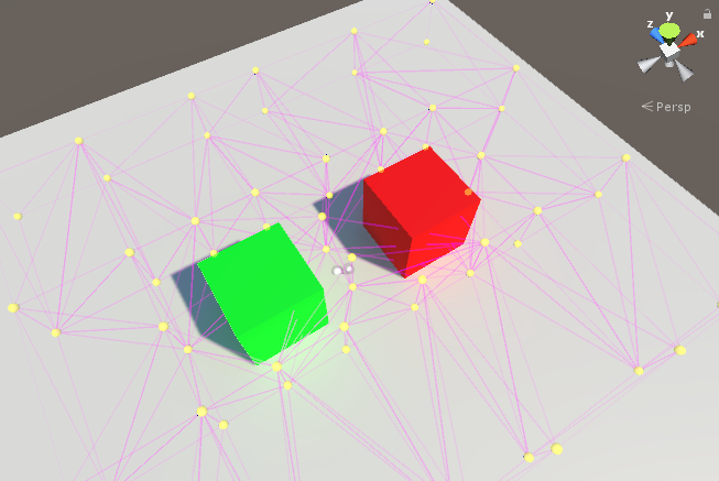 An extremely simple scene showing light probes placed around two cubes