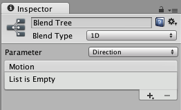 A Blend Node shown in the inspector before any motions have been added. The plus icon is used to add animation clips or child blend trees.