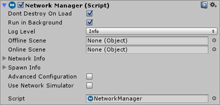 The Network Manager as seen in the inspector window