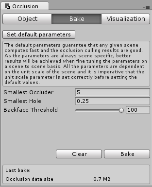Occlusion culling inspector bake tab.