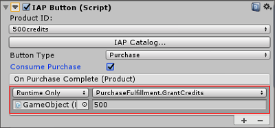 Assigning your purchase fulfillment script to an IAP Button event field