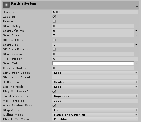Unity - Manual: Particle System Main module