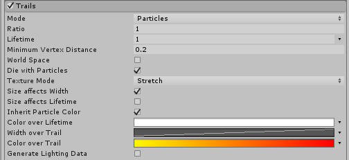 The Trails module in Particles mode