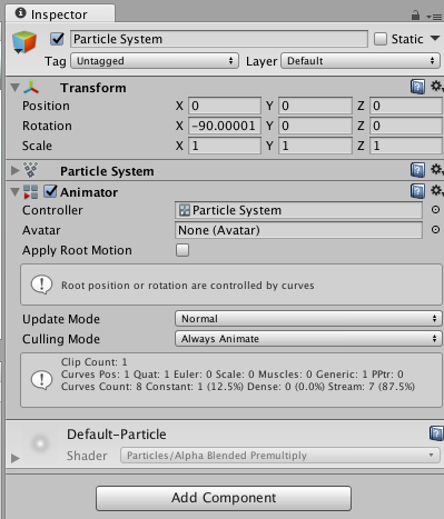 To animate a Particle System, add an Animator Component, and assign an Animation Controller with an Animation.
