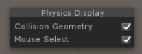 The Physics Debug overlay panel