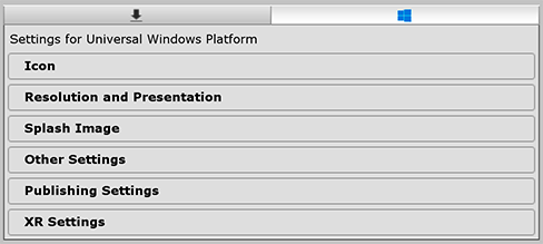 Player settings for the Universal Windows platform