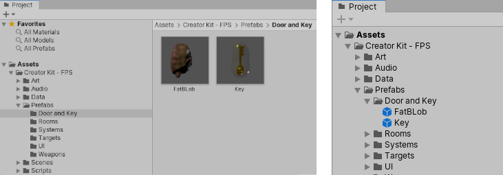 "Two prefabs (FatBlob and ""Key"") shown in the Project window in two-column view (left) and one-column view (right)"