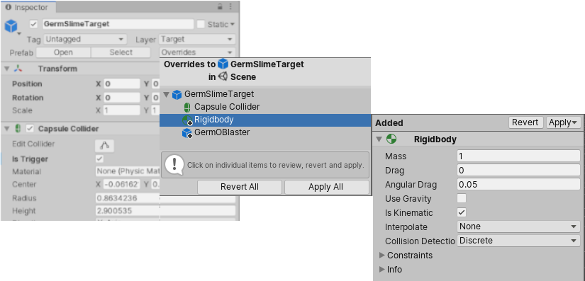 The overrides dropdown window with an added component override selected