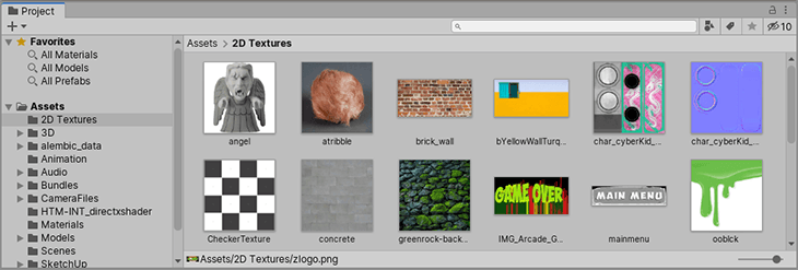 The Project Window shows Assets that Unity imported into your Project