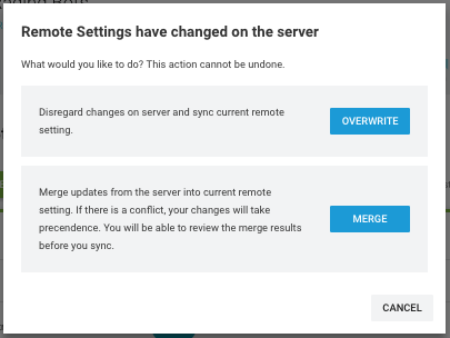 Warning that someone else has changed the settings while you were editing the same project