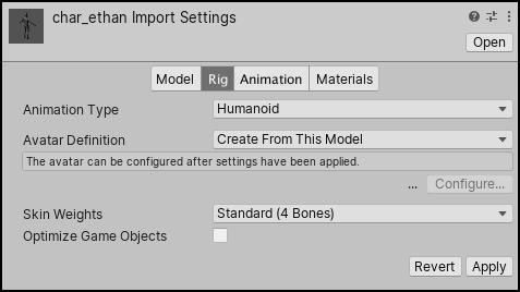 Unity - Manual: Rig tab