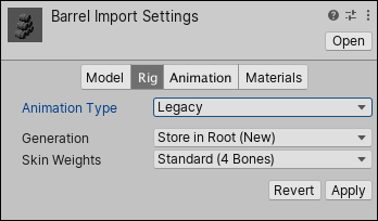 Your rig uses the Legacy Animation System