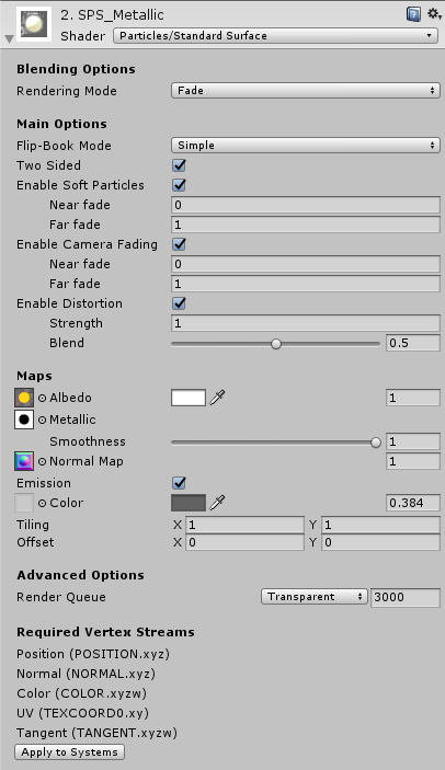 Unity - Manual: Standard Particle Shaders