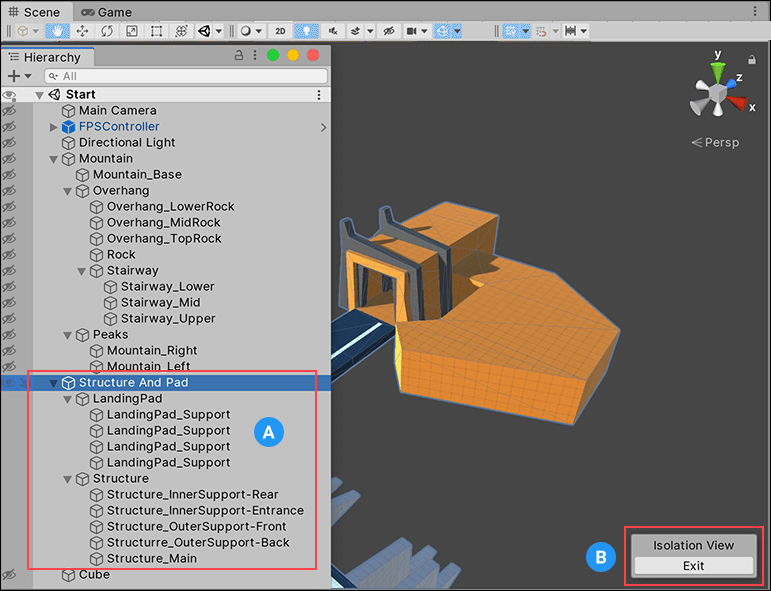 Isolation view overrides Scene visibility settings so only the selection and its children (A) are visible.<br/>Clicking the Exit button (B) reverts to the previous Scene visibility settings.